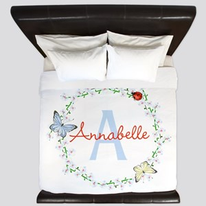 Cute Butterfly Floral Monogram King Duvet