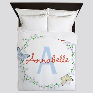Cute Butterfly Floral Monogram Queen Duvet