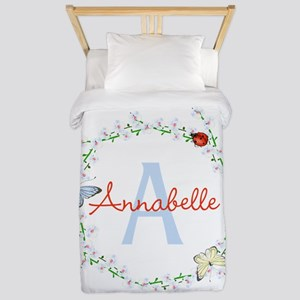 Cute Butterfly Floral Monogram Twin Duvet Cover