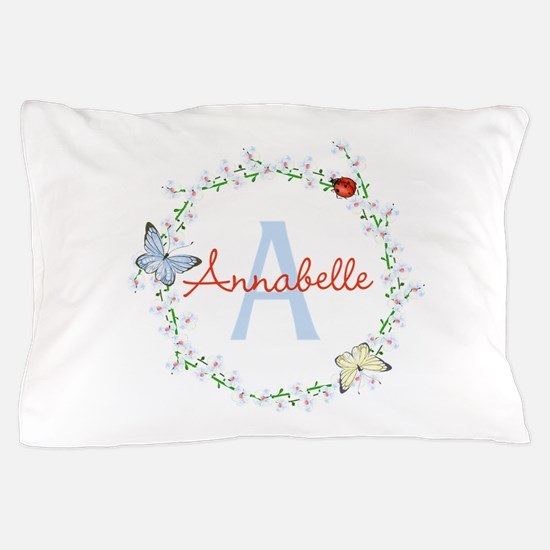 Cute Butterfly Floral Monogram Pillow Case