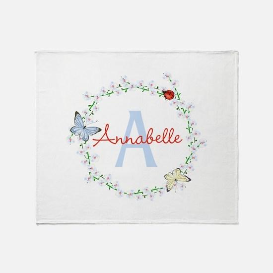 Cute Butterfly Floral Monogram Throw Blanket