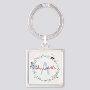 Cute Butterfly Floral Monogram Keychains