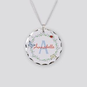 Cute Butterfly Floral Monogram Necklace