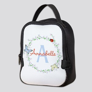 Cute Butterfly Floral Monogram Neoprene Lunch Bag