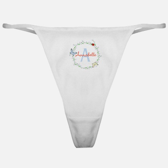 Cute Butterfly Floral Monogram Classic Thong