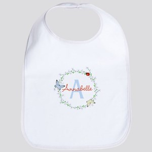 Cute Butterfly Floral Monogram Baby Bib