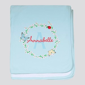 Cute Butterfly Floral Monogram baby blanket