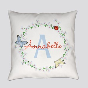 Cute Butterfly Floral Monogram Everyday Pillow