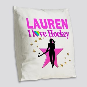 FIELD HOCKEY Burlap Throw Pillow