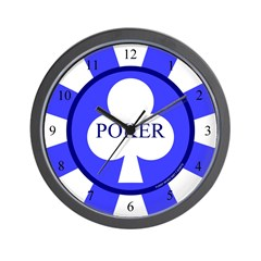 Blue Club Poker Chip Wall Clock