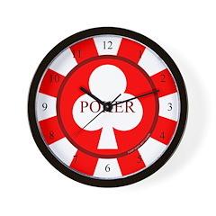 Red Club Poker Chip Wall Clock