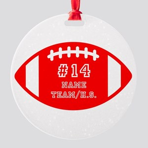 Custom Football Name Number Persona Round Ornament