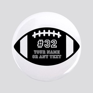 Custom Football Name Number Personalized # Button