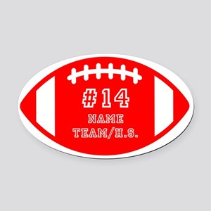 Custom Football Name Number Person Oval Car Magnet