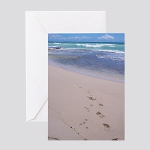Footprints in the sand greeting cards cafepress hawaiian footprints greeting card m4hsunfo