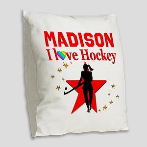FIELD HOCKEY Burlap Throw Pillow