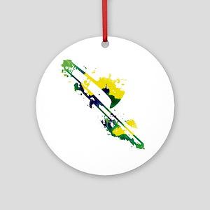 Paint Splat Trombone Ornament (Round)