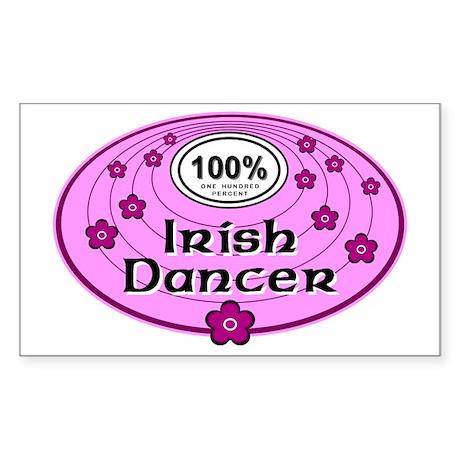 Pink 100% Irish Dancer Rectangle Sticker