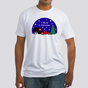 Red Classic Truck Christmas Fitted T-Shirt