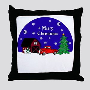 Red Classic Truck Christmas Throw Pillow