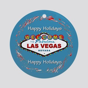 Las Vegas Happy Holidays Round Ornamentblue
