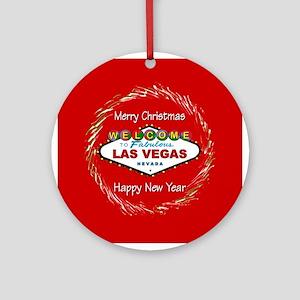 Las Vegas Happy New Year Ornament (Rnd) Red