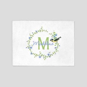 Bird Floral Wreath Monogram 5'x7'Area Rug