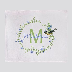 Bird Floral Wreath Monogram Throw Blanket