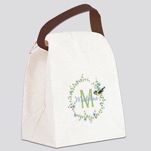 Bird Floral Wreath Monogram Canvas Lunch Bag