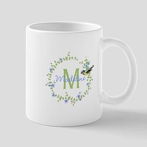 Bird Floral Wreath Monogram Mugs
