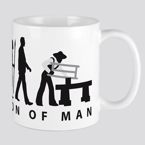 Evolution of man carpenter Mugs