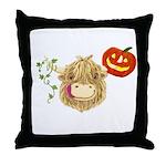 Wee Hamish Highland Cow Halloween Throw Pillow