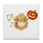 Wee Hamish Highland Cow Halloween Tile Coaster