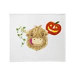 Wee Hamish Highland Cow Halloween Throw Blanket