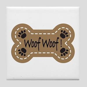 Dog Bone Paw Print Woof Tile Coaster