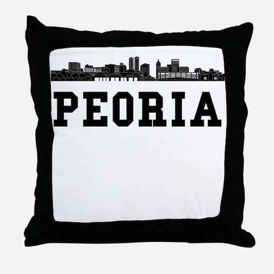 Peoria IL Skyline Throw Pillow