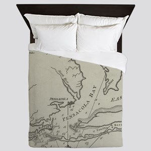 Vintage Map of Pensacola Florida (1788 Queen Duvet