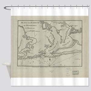 Vintage Map of Pensacola Florida (1 Shower Curtain