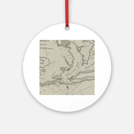 Vintage Map of Pensacola Florida (1 Round Ornament