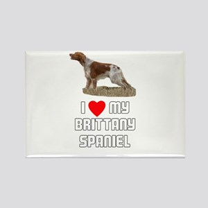 I love My Brittany Spaniel Rectangle Magnet