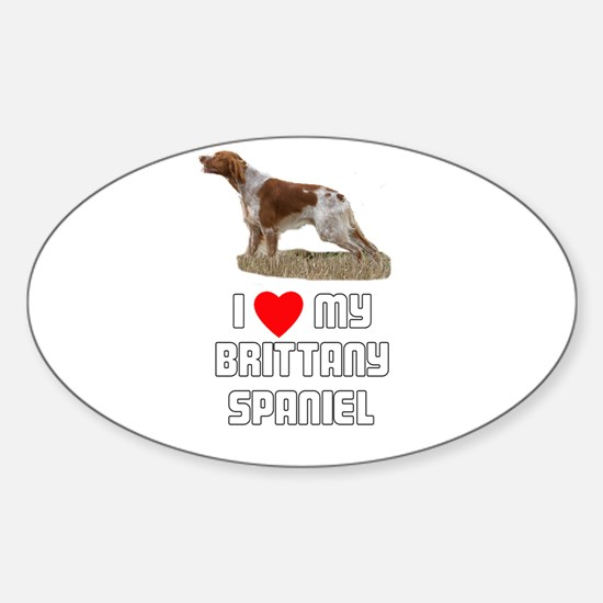 I love My Brittany Spaniel Oval Decal