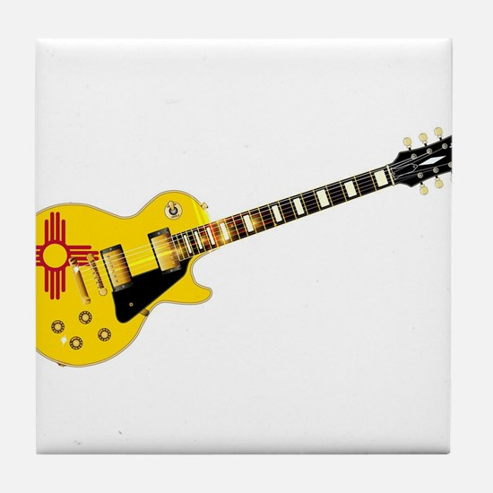 New Mexico State Flag Guitar Tile Coaster