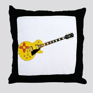 New Mexico State Flag Guitar Throw Pillow