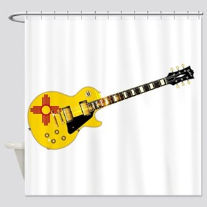 New Mexico State Flag Guitar Shower Curtain
