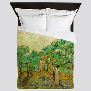 The Olive Orchards by Vincent van Gogh Queen Duvet