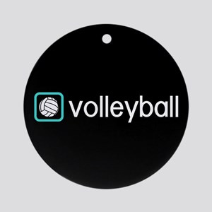 Volleyball (Blue) Round Ornament
