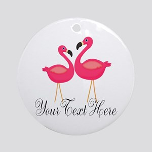 Pink Flamingos Round Ornament