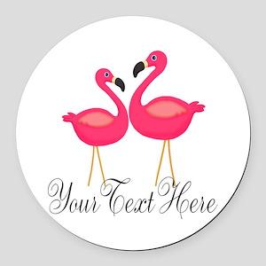 Pink Flamingos Round Car Magnet