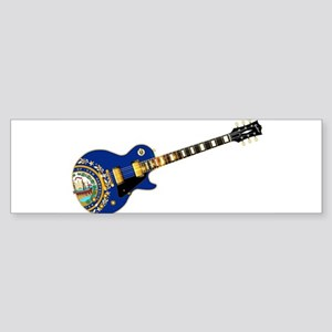 New Hampshire State Flag Guitar Bumper Sticker