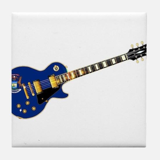 Michigan State Flag Guitar Tile Coaster
